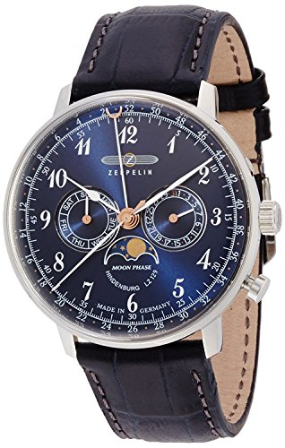 ZEPPELIN watch Hindenburg navy dial moon phase display Day-Date 70363 Men's [regular imported goods]