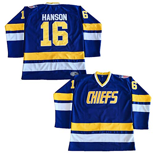 Hanson Brothers Charlestown Chiefs 16 Jack 17 Steve 18 Jeff Slap Shot Movie Hockey Jersey Blue (16 Blue, Medium)