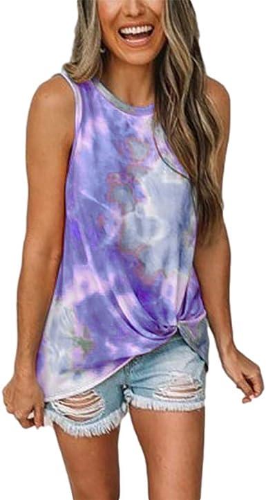 MANDDI Women Tie-Dye Tank Tops Sleeveless Scoop Neck Shirt Summer Casual Blouse