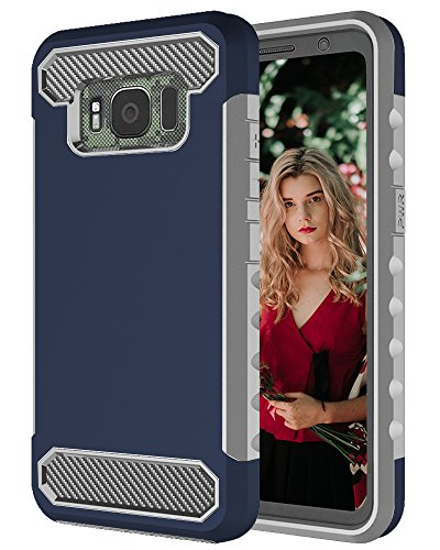Galaxy S8 Active Case, TOPBIN [Shock Absorption] [Heavy Duty Protection] Premium Dual Layer Hybrid Protective Case Cover Scratch Resistant Bumper Case for Samsung Galaxy S8 Active (dark blue)