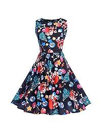 FarJing Womens Dresses, Women Retro Christmas Print Dress Vintage Evening Party Dress