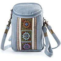 Goodhan Embroidery Canvas Cell phone Pouch Coin Womens Crossbody Bag (Multiple Color)