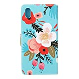Cuitan High Quality PU leather Flip Cover Case for Sony Xperia X, Card Slots and Stand Function Design Cell Phone Case Cover Shell Sleeve Wallet Case Protective Cover for Sony Xperia X - Blue Flower