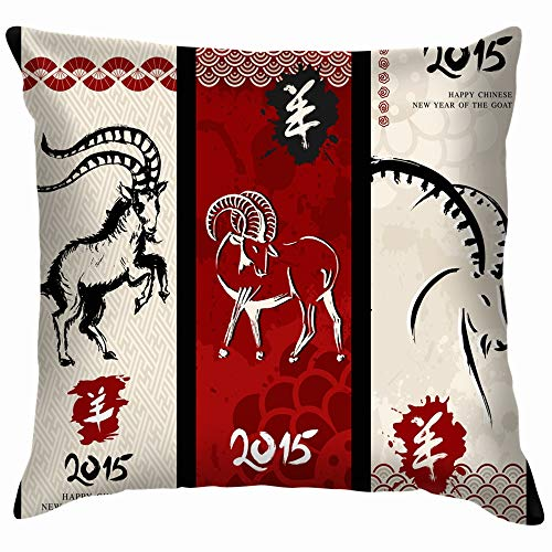 Chinese New Year Goat 2015 Vintage Animals Wildlife Holidays Cotton Linen Home Decorative Throw Pillow Case Cushion Cover for Sofa Couch 16X16 Inch (Chinese New Year Of The Goat Or Sheep)