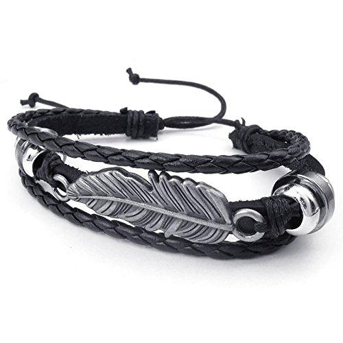 KONOV Leather Bracelet Adjustable Feather