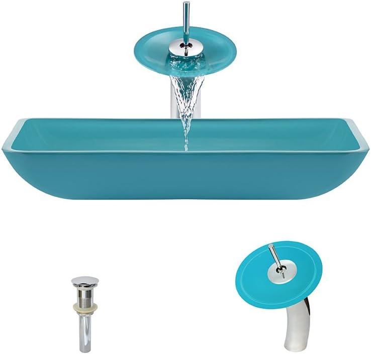640 Turquoise Chrome Waterfall Faucet Bathroom Ensemble
