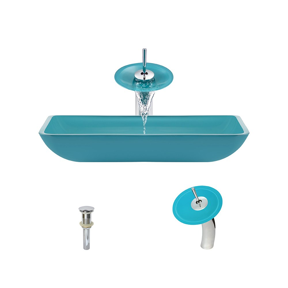 640 Turquoise Chrome Waterfall Faucet Bathroom Ensemble