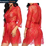 Kissgal Womens Lace Kimono Robe Babydoll Lingerie Chemise Sleepwear Mesh Nightgown