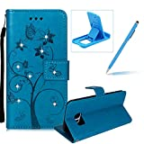 Diamond Wallet Leather Case for Samsung Galaxy S7 Edge,Strap Flip Leather Case for Samsung Galaxy S7 Edge,Herzzer Stylish Elegant Butterfly Flower Ants Pattern Magnetic Stand Cover with Card Cash Slot Soft TPU Inner Case