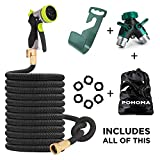 50 ft Expandable Garden Hose 5 IN 1.Strongest New 2017 Flexible Expanding Technology,100% Brass Connectors. Includes 8 pattern metal spray nozzle,storage bag, Wall Mount, and 2-way Full Metal Splitter