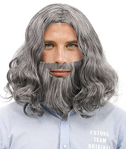 Men's Halloween Costume Cosplay Wavy Jesus Wig & Beard Set and Free Wig Cap,Grey