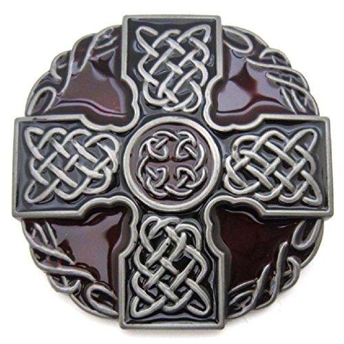 Irish Celtic Knot Weave Medieval Cross Shield Belt Buckle Mens Vintage - Belt Irish