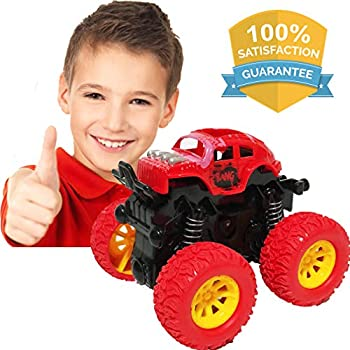 LayYun Pull Back Cars Toys for Boys, Monster Truck Toys,Four-Wheel Drive Inertia Car Toys, Car Party Favors for Toddlers Boys Age 2-5 Year Gifts for Kids Birthday (Red)