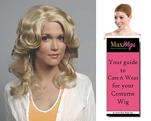 Farrah Angel Color Dark Blonde - Enigma Wigs Fawcett Charlie's Jill Munroe Fareh Bundle w/Cap, MaxWigs Costume Wig Care Guide