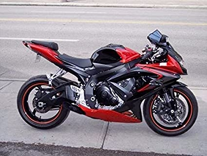 Amazon.com: Candy Red w/Black Grey Injection Fairing for 2008-2010 ...