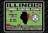 """Illinois Zombie Hunting Permit"" Funny Bumper or Window Sticker"
