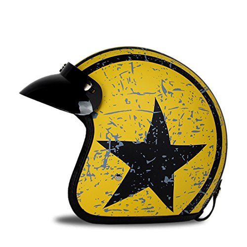 Woljay 3/4 Open Face helmet, Motorcycle Helmet Flat with Rebel Star Graphic Black + Yellow (L)
