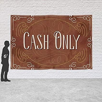 Cash Only 12x8 Victorian Card Heavy-Duty Outdoor Vinyl Banner CGSignLab