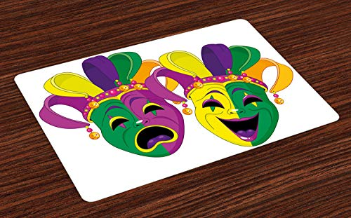 Ambesonne Mardi Gras Place Mats Set of 4, Traditional Masks of Tragedy and Comedy Festival Celebration Masquerade Theme, Washable Fabric Placemats for Dining Room Kitchen Table Decor, Multicolor -