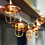 2Pack 3.5 FT 10 LED String Lights with Rose Gold Metal Vintage Lantern Cage Battery Operated Fairy Lights Great for Home Patio Bedroom Garden Wedding Party Indoor Decoration (Warm white)