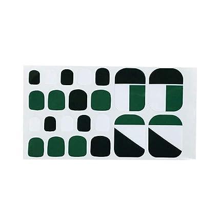 Haodou Verano Dedos Uñas Postizas Playa Cubierta Completa de Diseño Verde Pie Decal Nail Art Artificial