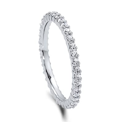 BERRICLE Rhodium Plated Sterling Silver Cubic Zirconia CZ Anniversary Stackable Eternity Band Ring 9hOMu