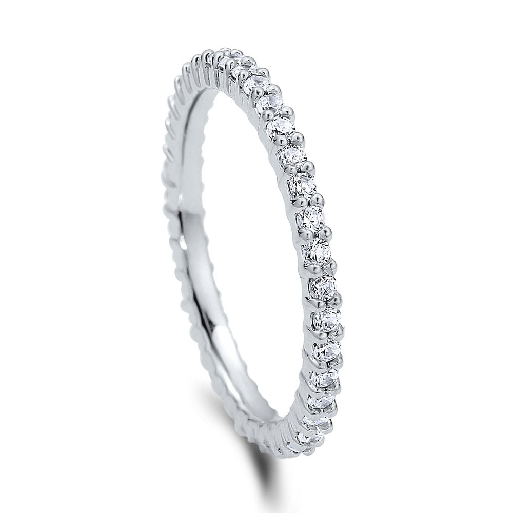 BERRICLE Rhodium Plated Sterling Silver Cubic Zirconia CZ Anniversary Eternity Band Ring Size 4.5