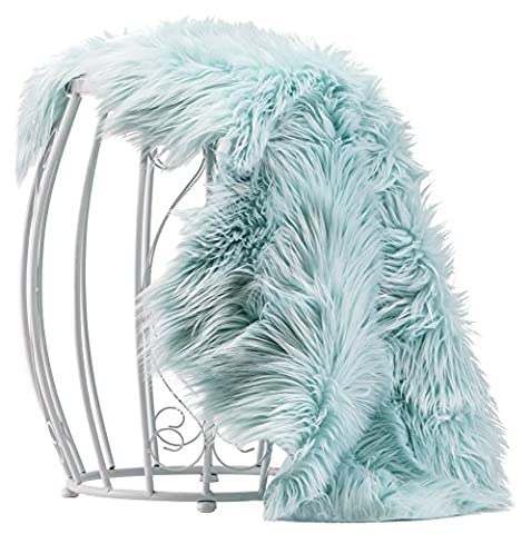 Chanasya Super Soft Faux Fur Fake Sheepskin blue Sofa Couch Stool Casper Vanity Chair Cover Rug / Solid Shaggy Area Rugs For Living Room Floor Throw Blanket / Home Nursery Decor Turquoise (Couch Cover Ottoman)