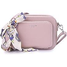 DAVIDJONES Women's Small Faux Leather Multi Zipper Boxy Crossbody Handbag with Flower Scarf Braided Repalccement Strap