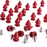 RUBYCA 12MM 500 Sets Metal Tree Spikes and Studs Metallic Screw-Back for DIY Punk Leather-craft Red