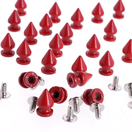 RUBYCA 12MM 50 Sets Metal Tree Spikes and Studs Metallic Screw-Back for DIY Punk Leather-craft Red (Spiked Vest Denim)