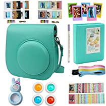 Alohallo Instax Mini 9 Mini 8 Mini 8 + Accessories for FujiFilm Instax Mini 8/ 8+/ 9 Instant Film Camera with Camera Case/ Lens / Mini Album/ Color Frame/ Sticker / Strap/ Pens/ Filter(Mint)