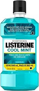 Enxaguatório Bucal Cool Mint, Listerine, L 500ml P 350ml