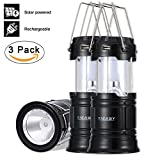 Led Camping Lantern, Rechargeable Solar Hanging Lanterns Collapsible, Bright Outdoor Flashlight with Handle for Power Outages, Emergencies, Hurricanes, Hiking, Fishing, Tent (Black, 3 pack)