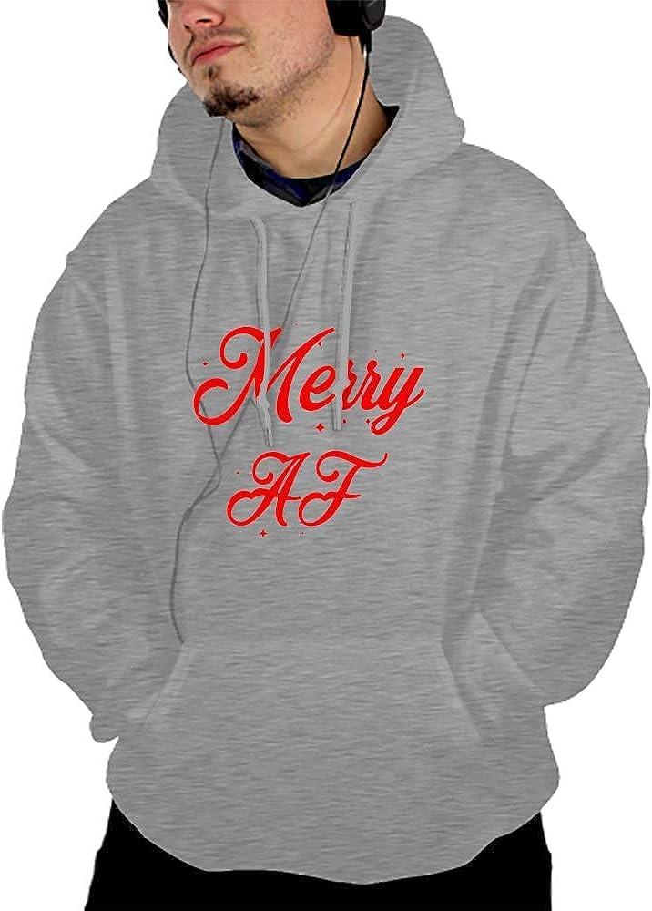 Men Long Sleeve I Howl Print Drawstring Kangaroo Pocket Pullover Hooded Sweatshirt