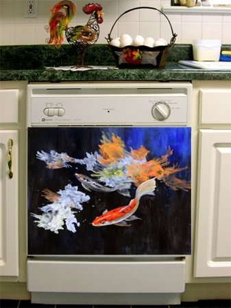 Appliance Art Koi Pond Dishwasher Cover (Magnet)