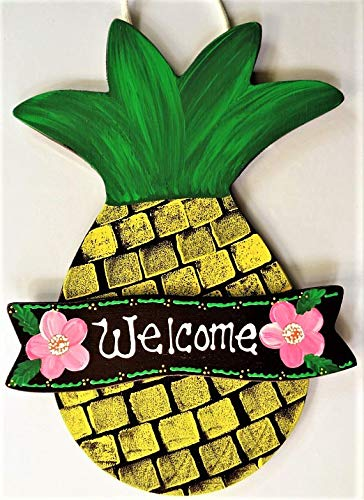 - Susie85Electra Pineapple Welcome Sign Tiki Bar Pool Deck Porch Door Hawaiian Tropical Plaque Country Wood Crafts Mesh Wreath Embellishment Wood Wooden