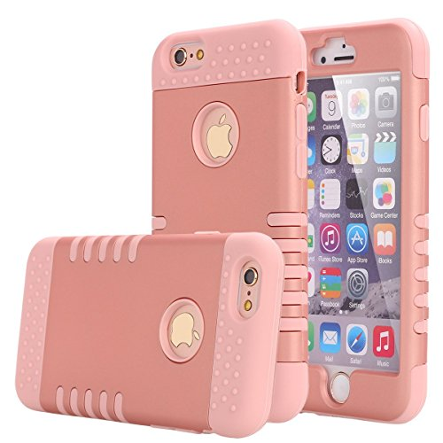 iPhone 6S Plus Case, Pandawell Shock Absorbing Hybrid Defender Armor Rubber Case Cover for Apple iPhone 6S Plus & iPhone 6 Plus 5.5 with Screen Protector & Stylus (Rose Gold)