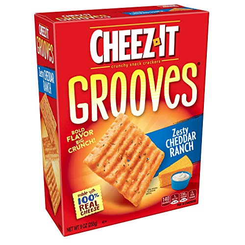 - Cheez-It Grooves Crispy Cheese Cracker Chips, Zesty Cheddar Ranch, 9 oz Box