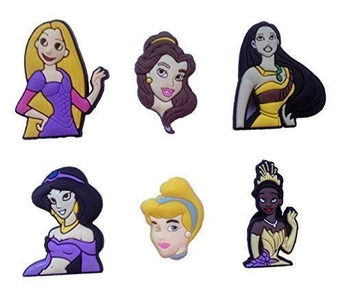 [Disney Princess Shoe Charms 6 Pcs Set #1] (Character Photo Charms)
