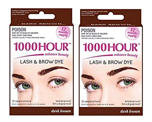 Combo Pack! 1000 Hour Eyelash & Brow Dye / Tint Kit Permanent Mascara (Dark Brown & Dark Brown) (Best Home Eyelash Dye Kit)
