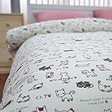 LELVA Kids Bedding for Girls Cartoon Cats Pattern Duvet Cover Set Red Plaid Sheet Sets 3 Piecece (Twin, Flat Sheet)