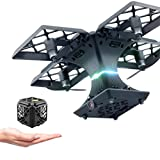 Inverlee Utoghter 2.4GHZ 4CH 6-Axis Gyro Quadcopter Folding Transformable Pocket Drone (Black)
