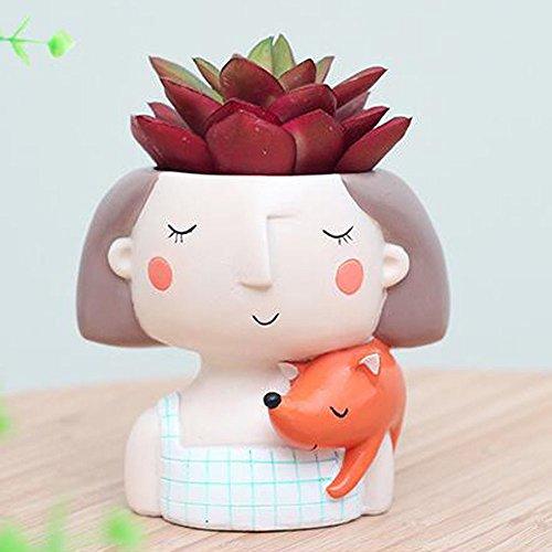 - HEHEN Small Fresh Cartoon Wreath Girl Resin Pots Micro-Landscape Plant Pots Succulent Plant Pots(Fox Girl)