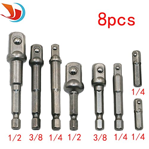 Hex Socket Drill Adapter (QST 8Pcs Socket Adapter Impact Hex Shank Drill Bits Bar Set 1/4