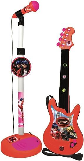 Enfants 6 Corde Rose Électrique Jeu Guitare /& Microphone Set avec Réglable Stand