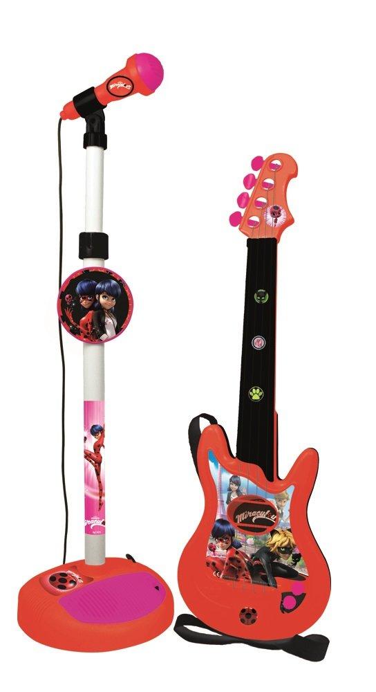 REIG 2675 Ladybug Gitarre mit Standmikrofon und Verstärker
