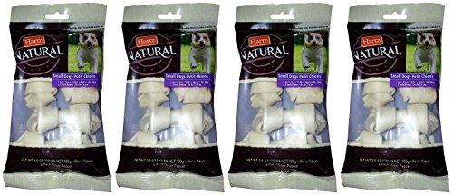 Bones Rawhide Hartz - Hartz Natural Rawhide Bones, 3 Inch, 4 Count (Pack of 4) Total 16 Bones