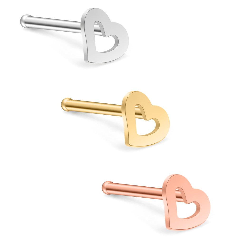 Ruifan 20G 18G Surgical Steel Heart Nose Stud Rings Bone Pin Piercing Jewelry 3-6PCS BD01546