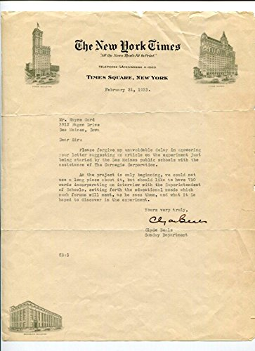 Clyde Beals NY New York Times Editor Signed Autograph 1933 Letter - NFL Cut Signatures